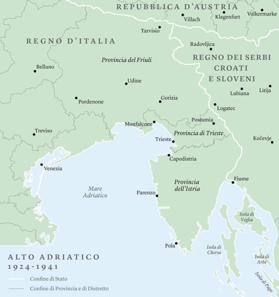 Mappa dei confini italo-jugoslavi nel periodo 1924-1941